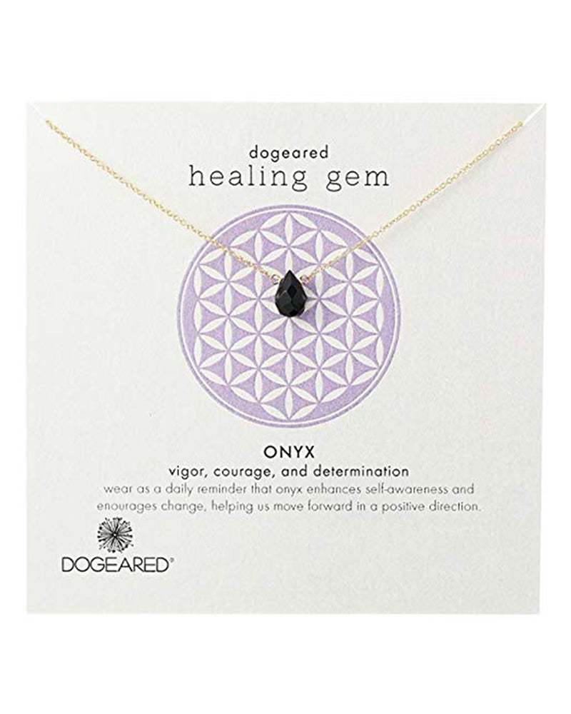 Dogeared - Healing Gem Onyx Pendant Necklace in Gold Dipped