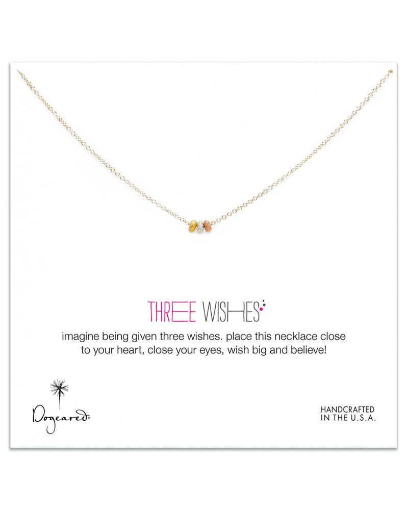 Dogeared - 3 Wishes Mixed Stardust Bead Necklace on Gold Dipped Chain