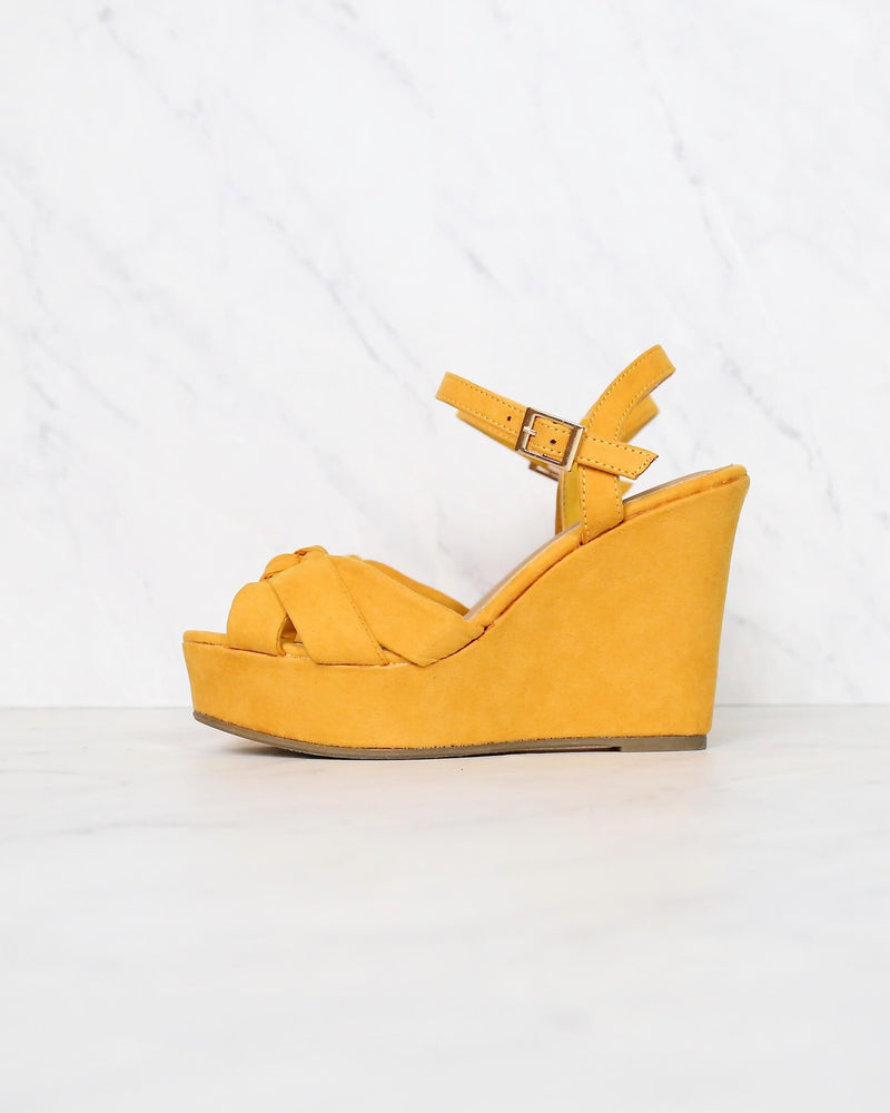 Doing Fine Knotted Single Band Platform Heel Sandal in Mustard Suede