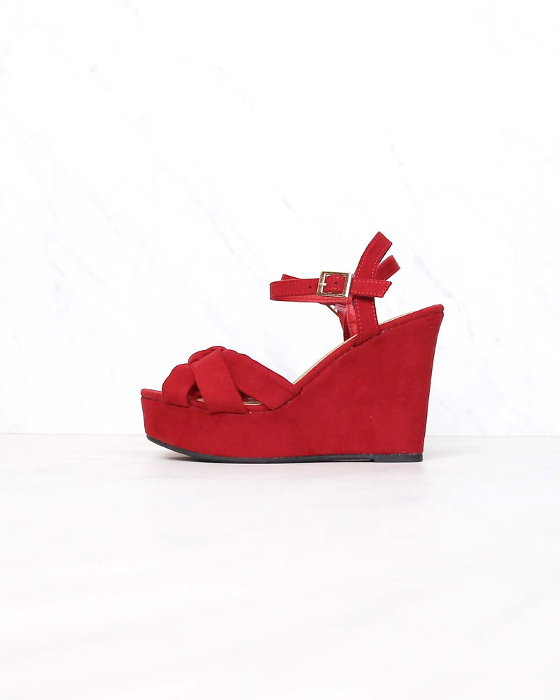 Doing Fine Knotted Single Band Platform Heel Sandal in Red Suede