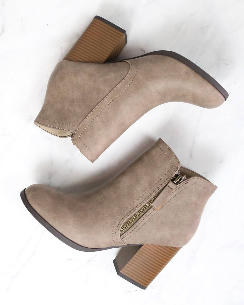 Casual Block Heel Ankle Bootie - more colors