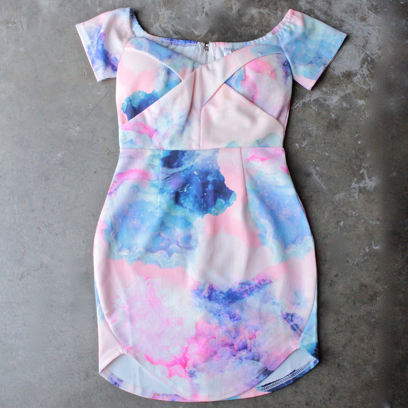 dreamy off the shoulder watercolor bodycon dress - shophearts - 1