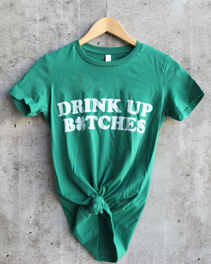 Distracted - Drink Up Saint Patrick's Day Fitted Ringspun Cotton T-Shirt in Kelly Green/White