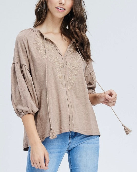 drop shoulder boho tassel top with embroidered detail - taupe