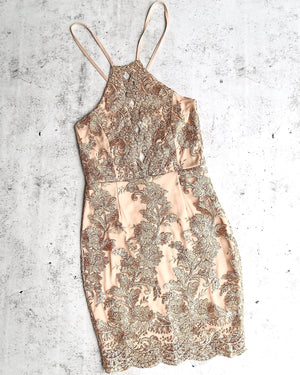 Final Sale - Dulce Open Back Embroidered Dress - Mocha