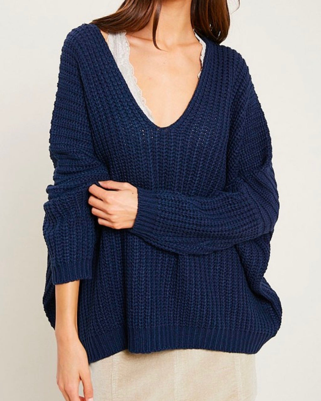 eight letters v neck oversized knit sweater in navy