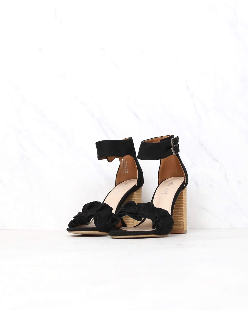 Mi.iM - emmeline - ruffle-trimmed two band heel - more colors