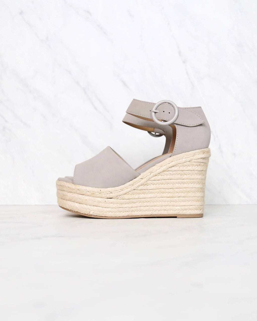 Sassy Espadrille Wedges in Light Grey