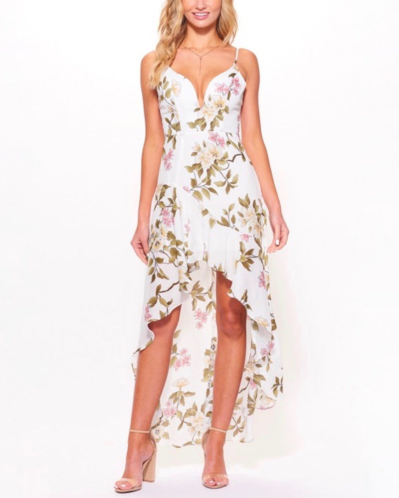 Final Sale - Fatal Attraction High Low Ruffle Floral Dress in White