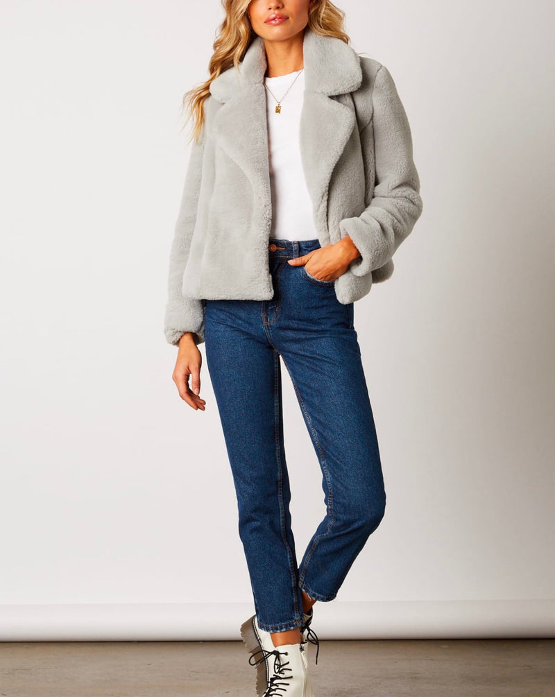 faux fur jacket with notched collar and hidden pockets - dove grey