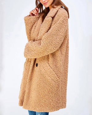 Season Spirit Faux Shearling Button Front Coat in Taupe