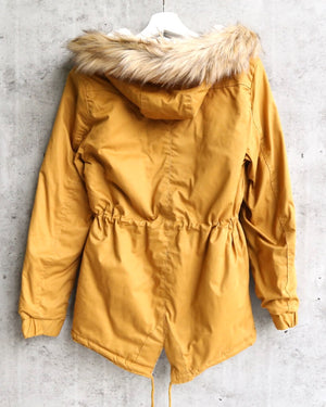 faux sherpa lined military hooded utility parka jacket in mustard