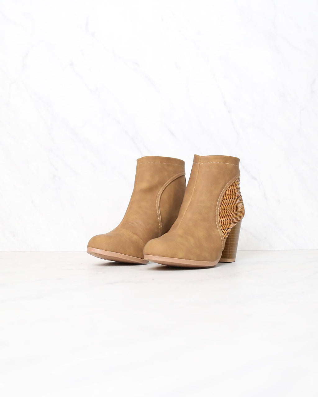FINAL SALE - Faux Suedette Perforated Woven Bootie in Camel