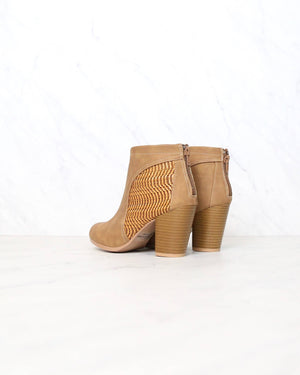 faux suedette perforated woven bootie in camel