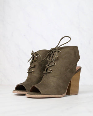 Final Sale - Adventure Lace Up Peep Toe Suede Booties in Khaki