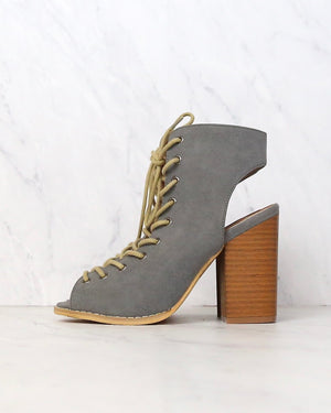 final sale - minimalist lace up peep toe heel - grey