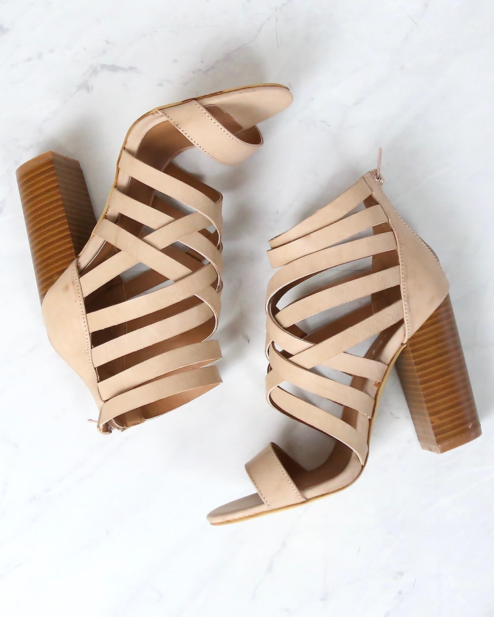 detailed images crazy price authentic quality final sale - strappy stacked heel sandals - rose