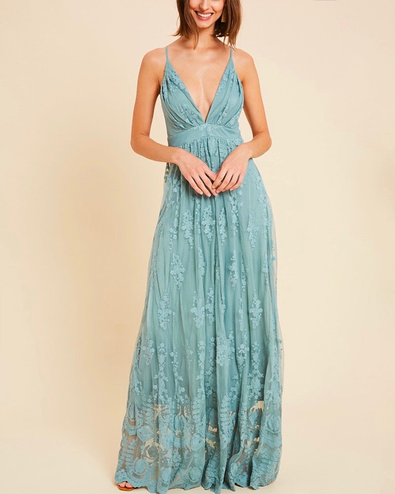 Floral Embroidered Maxi Dress - More Colors