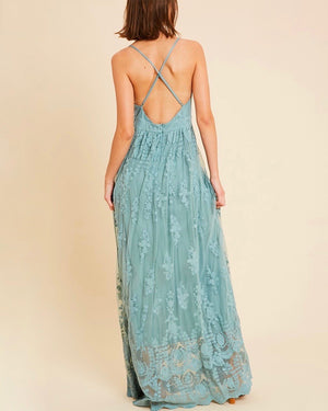 floral embroidered maxi dress - jade