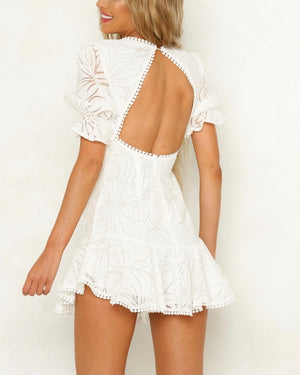 floral lace crochet short puffy sleeve backless mini dress with ruffle hem in white