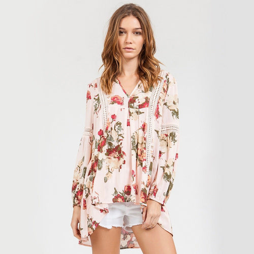 blu pepper - Floral Tunic With Crochet Inset Detailing - pink multi