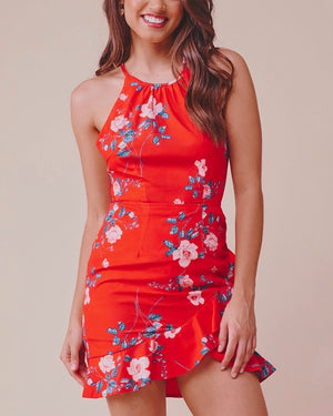 Floral Print Mini Halter Dress - Red/Pink
