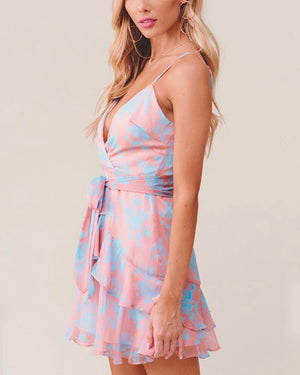 Call You Mine Floral Printed Tiered Mini Dress in Rose