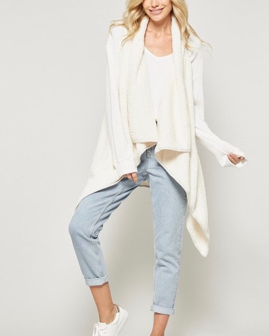 Fly Away Faux Shearling Vest in Ivory Pearl