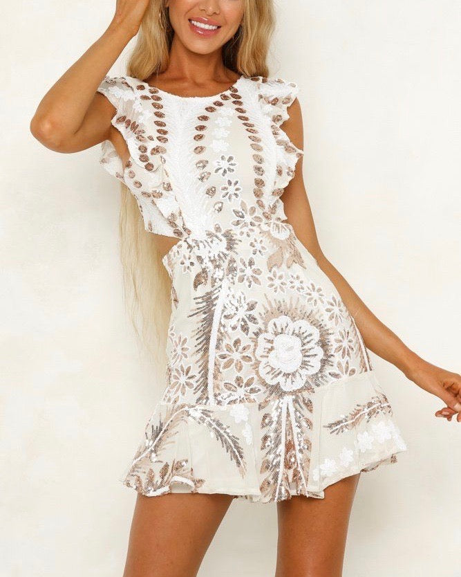 8e2b53865c2b following my dreams two tone mid cut out sequin-embellished mini dress