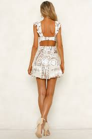 Following My Dreams Two Tone Mid Cut Out Sequin Embellished Mini Dress