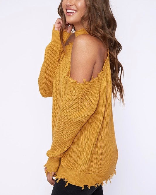 frayed hem cold shoulder sweater - mustard