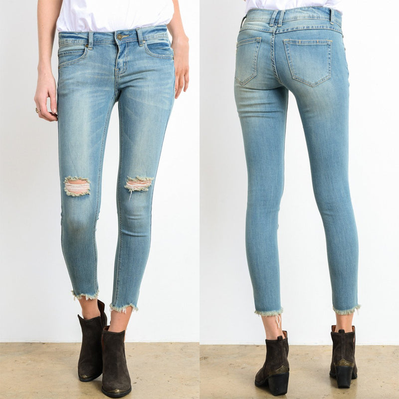 destroyed cropped denim with frayed hem - light wash