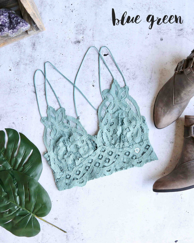 free people - FP ONE adella crochet lace bralette - BLUE GREEN