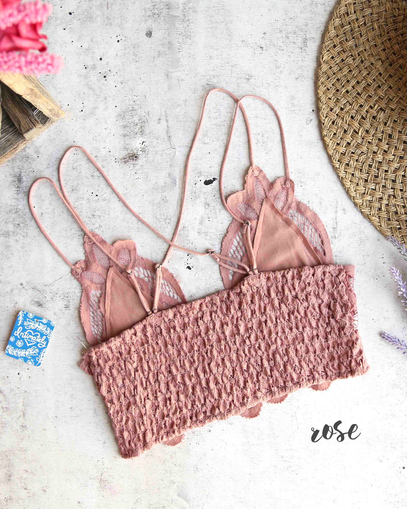free people - FP ONE adella crochet lace bralette rose