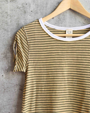 Free People - Stripe Clare Tee in Moss
