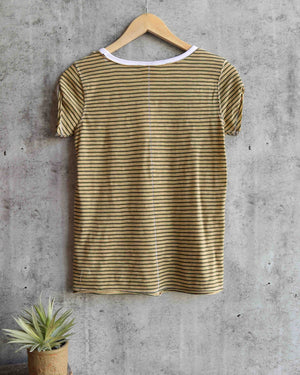 free people - stripe clare tee - moss