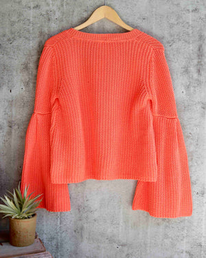 free people - damsel cable knit pullover - coral