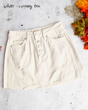 free people denim a-line skirt in white (creamy tan)