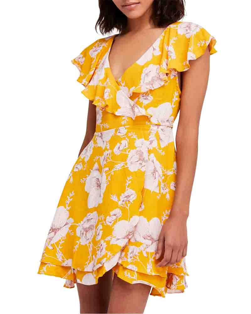free people - french quarter floral mini wrap dress - yellow