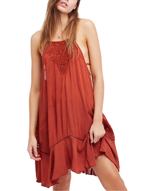 free people - heat wave embroidered tunic dress - terracotta