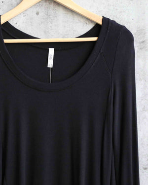 free people - january tee women's long sleeve pullover - black