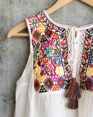free people - lohri embroidered tassel top - ivory