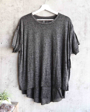 free people - we the free - cloud 9 frayed hem knit tee - carbon