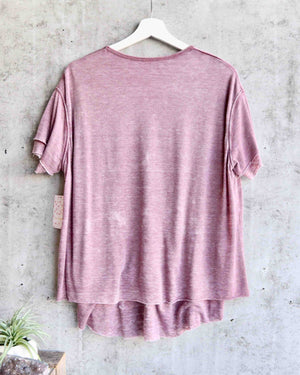 free people - we the free - cloud 9 frayed hem knit tee - sangria