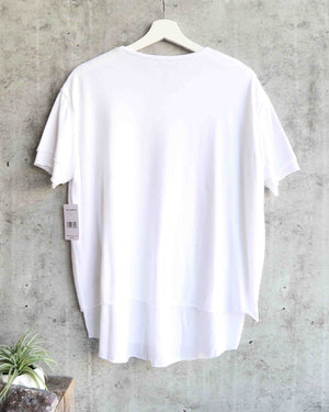 free people - we the free - cloud 9 frayed hem knit tee - white