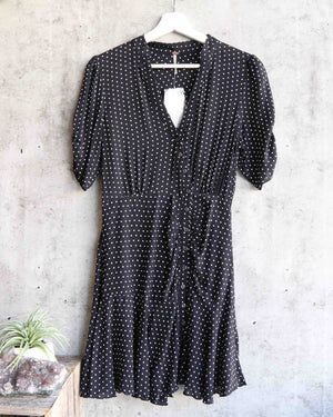 free people - pippa short sleeve polka dot mini dress - black