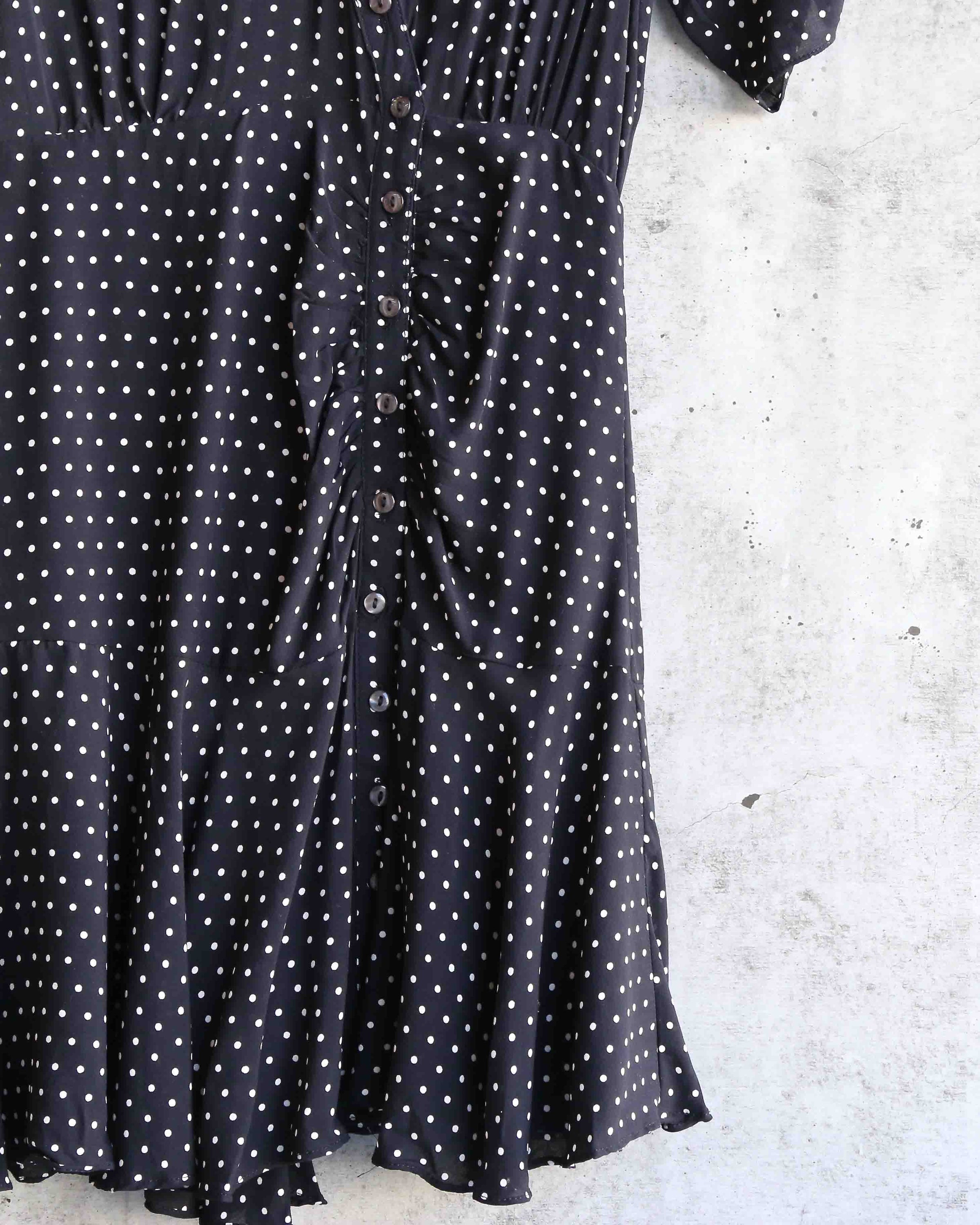 28c73e7414de2 free people - pippa short sleeve polka dot mini dress - black
