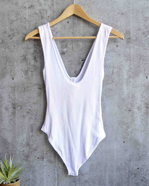 free people - take me out knit henley plunge tank-top bodysuit - white