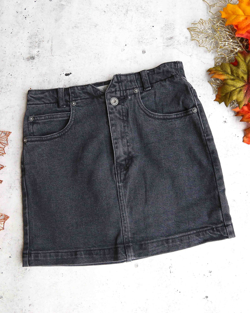 free people skirt she's all that denim in black