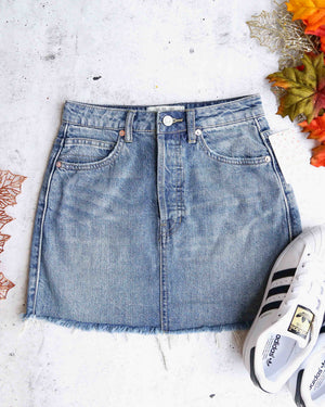 free people rugged a-line denim mini skirt in blue